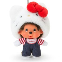 Hello Kitty x Monchhichi Mascot Plush 14cm Limited Keychain 吊飾 324066