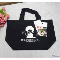 Monchhichi Tote Bag 100% Cotton Handbag NAVY 袋 連 襟章 40681