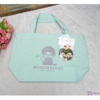 Monchhichi Tote Bag 100% Cotton Handbag CYAN 袋 連 襟章 40698