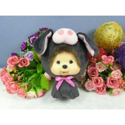 Monchhichi Big Head Keychain Mascot Agu 沖繩 限定 大頭 黑豬 760020