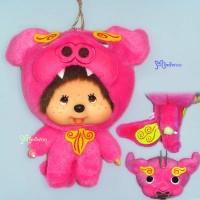 Monchhichi Big Head Mascot Shisa Pink 沖繩 守護神 獅子 吊飾 780280