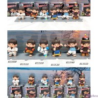 Monchhichi 6cm Mini Figure Fighter Judo Sumo 膠公仔 (連底坐) 格鬪技 (6pcs Set) 8135set