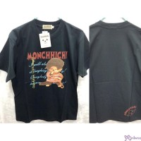 Monchhichi 100% Cotton Fashion Adult Tee Black Cheerful Boy L Size 824L-A