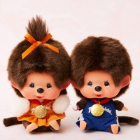 Japan SFDS Shop Limited Monchhichi 13cm Sitting Sport Boy & Girl 838028+838035 LAST ONE