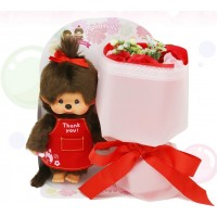 838555 Monchhichi S Size Apron Red + Soap Flower Rose SFDS Limited Set ~ LAST ONE ~