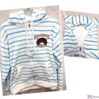 Monchhichi 100% Polyester Adult Fashion Hooded Knit Coat Blue Stripe M Size RX038M-B