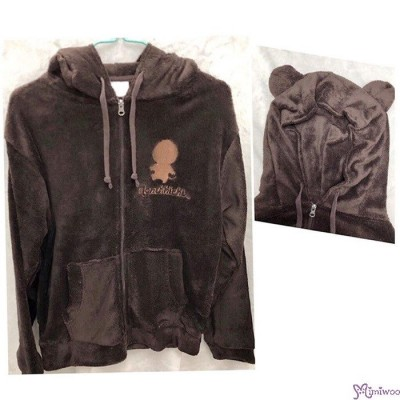 Monchhichi 100% Polyester Adult Fashion Hooded Knit Coat Dark Brown M Size RX038M-C