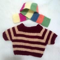 自家制 服裝 Monchhichi M Size Boutique Fashion Scarf + Knit Sweater Red MC006-RED