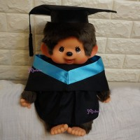 Monchhichi L Size Graduation Gown Blue + Hat with 40cm Premium MCC Boy 畢業 MCG
