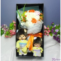 Monchhichi & Bebichhichi  Kimono Chrysanthemum Girl 菊花 和服 + 情人節 肥皂花 花束 Soap Flower Rose Gift Box Set