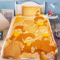 Monchhichi 1300 針 (高品質) 純棉 印花被袋、枕袋 及  淨色床笠 套裝 雙人 PSB002D
