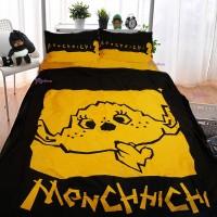 Monchhichi 1300 針 (高品質) 純棉 印花被袋、枕袋 及  淨色床笠 套裝 大雙人 PSB003F