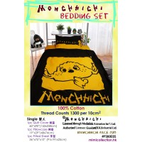 Monchhichi 1300 針 (高品質) 純棉 印花被袋、枕袋 及  淨色床笠 套裝 單人 PSB003S
