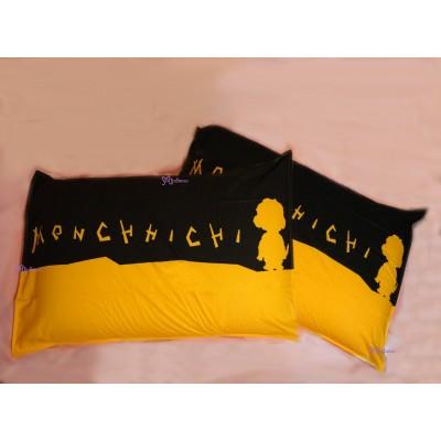 Monchhichi Pillow Case 純棉 印花枕袋 枕頭袋 (2pcs) PSC003BLK