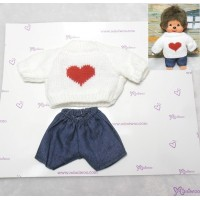 Monchhichi S Size Boy Boutique Outfit Heart Knit + Jean (WHITE) RT-37