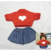 Monchhichi S Size Boy Boutique Outfit Heart Knit + Jean Skirt  (RED) RT-38