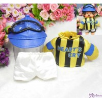 Monchhichi S Size Jockey Outfit (Helmet + Goggles) 日本競馬騎師 彩衣 (連帽及眼罩) RX017-YEW