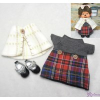 自家制 服裝 Monchhichi S Size Fashion 披肩 , 格仔裙 及 鞋 套裝 RX024+YK08BLK
