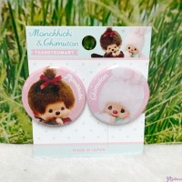 "Monchhichi Chimutan Chim Tan Bunny Badge 2pcs 1.5"" 直徑 徽章 (日本製) UC0554"