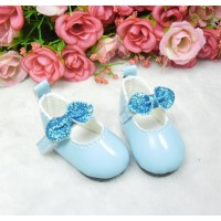Monchhichi S Size MCC Doll Shoes Glitter Butterfly Bow Blue YK08BLE