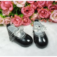 S Size MCC Doll Shoes Glitter Butterfly Bow BLACK YK08BLK