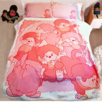Monchhichi 1300 針 (高品質) 純棉 印花被袋、枕袋 及  淨色床笠 套裝 雙人 PSB001D