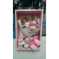 Sweet Monchhichi Mascot Candy & Cake 吊飾 連 心心拉鍊袋 + Soap Flower Rose Gift Box Set