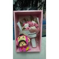 Big Head Monchhichi Chamekko Monkey 220530 + Soap Flower Rose Gift Box Set