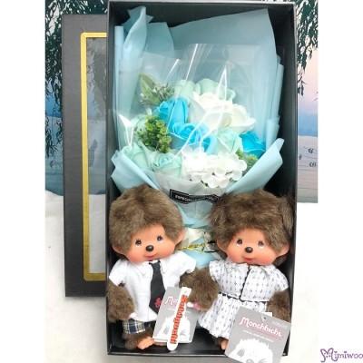 Monchhichi S Size Plush Boy & Girl + 情人節 肥皂花 花束 Soap Flower Rose Gift Box Set
