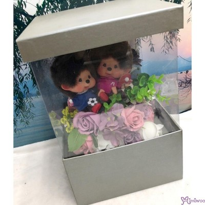 Monchhichi  Big Head Sport Boy & Girl  + 情人節 肥皂花 花盒 Soap Flower Rose Gift Box Set