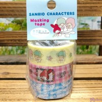 Sanrio Twin Star Melody Cinnamoroll Dog Masking Tape 15mm x 5 meter (3 Rolls) 日本製 公仔 膠紙 464111