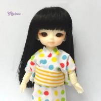 "Mimiwoo Hujoo Baby Bjd 4-5"" Heat Resistant Long Wig Black 公仔 假髮 WM21-02-BK"