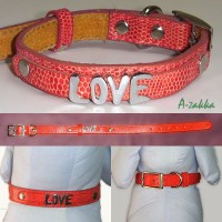 Pet Fashion -  PU Leather Dog Chain Red M Size NDA013RED-M