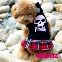 Pet Fashion -  Dog Apparel Skull with Red Tartan Skirt Black M Size NDD004BLK-M