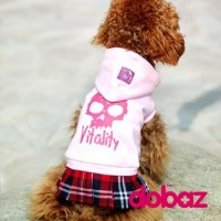 Pet Fashion -  Dog Apparel Skull with Red Tartan Skirt Pink S Size NDD004PNK-S