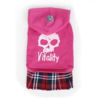 Pet Fashion -  Dog Apparel Skull with Red Tartan Skirt Cherry S Size NDD004RED-S