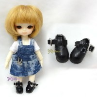 SBB002BLK Hujoo Baby Obitsu 11cm Body Maryjane Doll Shoes Black
