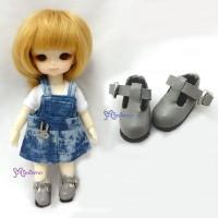 SBB002GRY Hujoo Baby Obitsu 11cm Body Maryjane Doll Shoes Grey