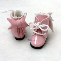 SBB007PNK Hujoo Baby Obitsu 11cm Body Shoes Ribbon Boots Pink