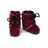 SBB008RED Hujoo Baby Obitsu Middie Blythe Shoes Flocked Boot Red