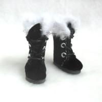 SBB020BLK Middie Blythe Obitsu 11cm Bjd Shoes Plushy Boots Black