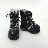 "SHP002BLK 12"" Blythe Lati Yellow Basic Doll Shoes Boots Black"