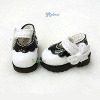 SHP112WHE 16cm Lati Yellow Maryjane Strapped Shoes White