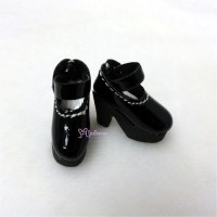 SHP116BLK Blythe Momoko Maryjane Shoes High Heel Boots Black