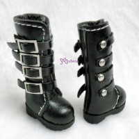 Blythe Pullip Momoko Obitsu Shoes Buckle Boots Black SHP129BLK