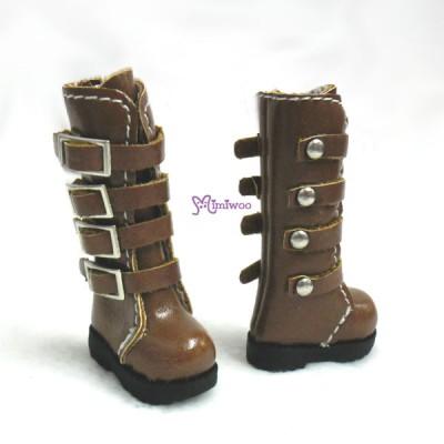 Blythe Pullip Momoko Obitsu Shoes Buckle Boots Brown SHP129BRN