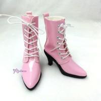 SHS133PNK Super Dollfie SD Shoes PU Leather High Heel Boots Pink