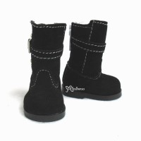 Yo-SD 1/6 Bjd MCC Shoes Buckle Velvet Boots Black SHU053BLK