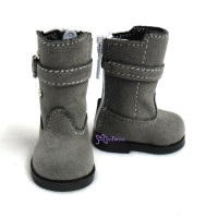 Yo-SD Bjd MCC doll Shoes Buckle Velvet Boots Grey SHU053GRY