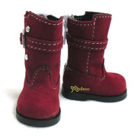 SHU053RED Yo-SD Bjd Dollfie Shoes Buckle Velvet Boots Red
